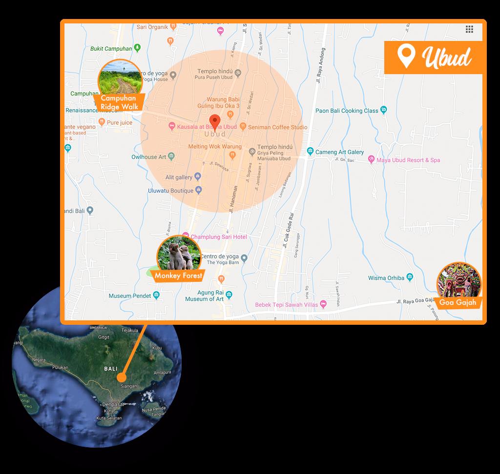 Mapa Ubud - Viaje en Mochila